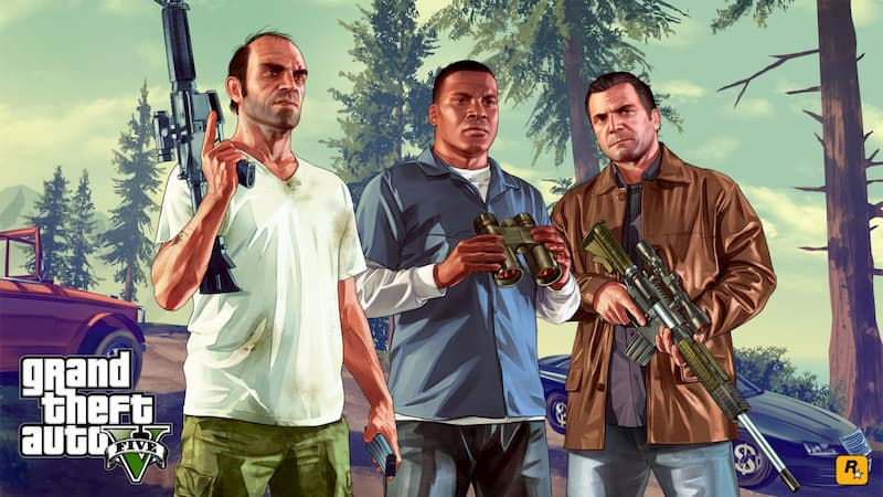 Trevor Philips, Franklin .y Michael con armas de largo alcance.