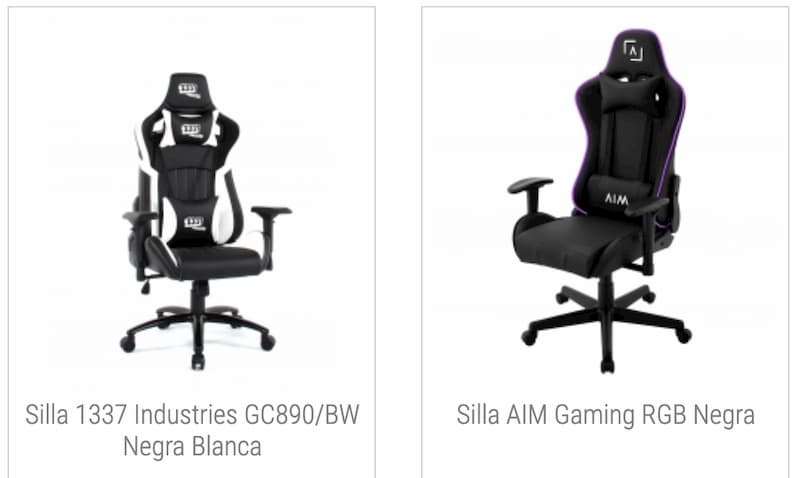tamano sillas gaming