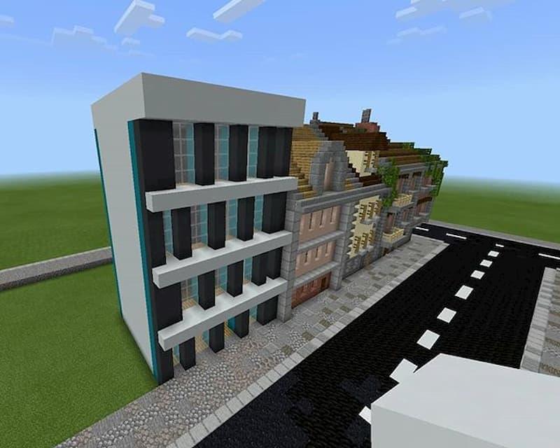 calle edificios minecraft