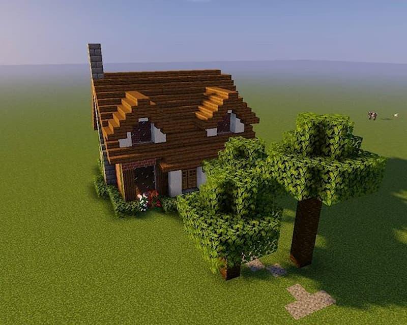 exterior casa con jardin minecraft