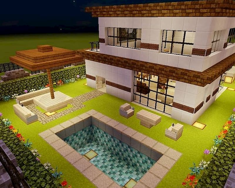 minecraft casa con piscina