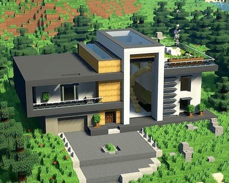 minecraft construccion casa lujo
