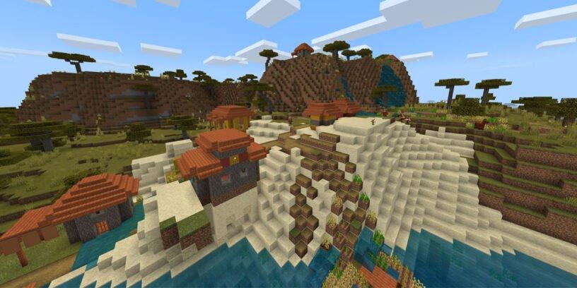 minecraft semillas diciembre 2020 aldea lago