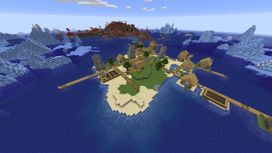 isla rodeada hielo