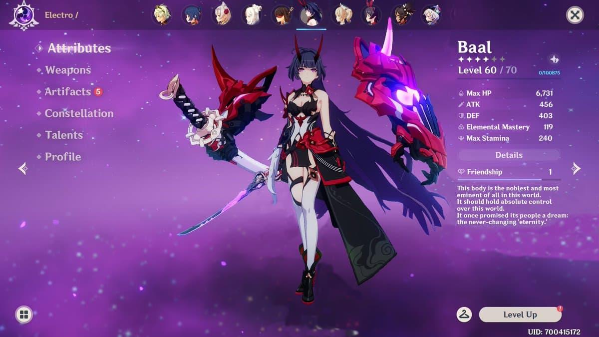 Baal, el arcón de Electro protagonista de Inazuma de Genshin Impact   Kyaooo