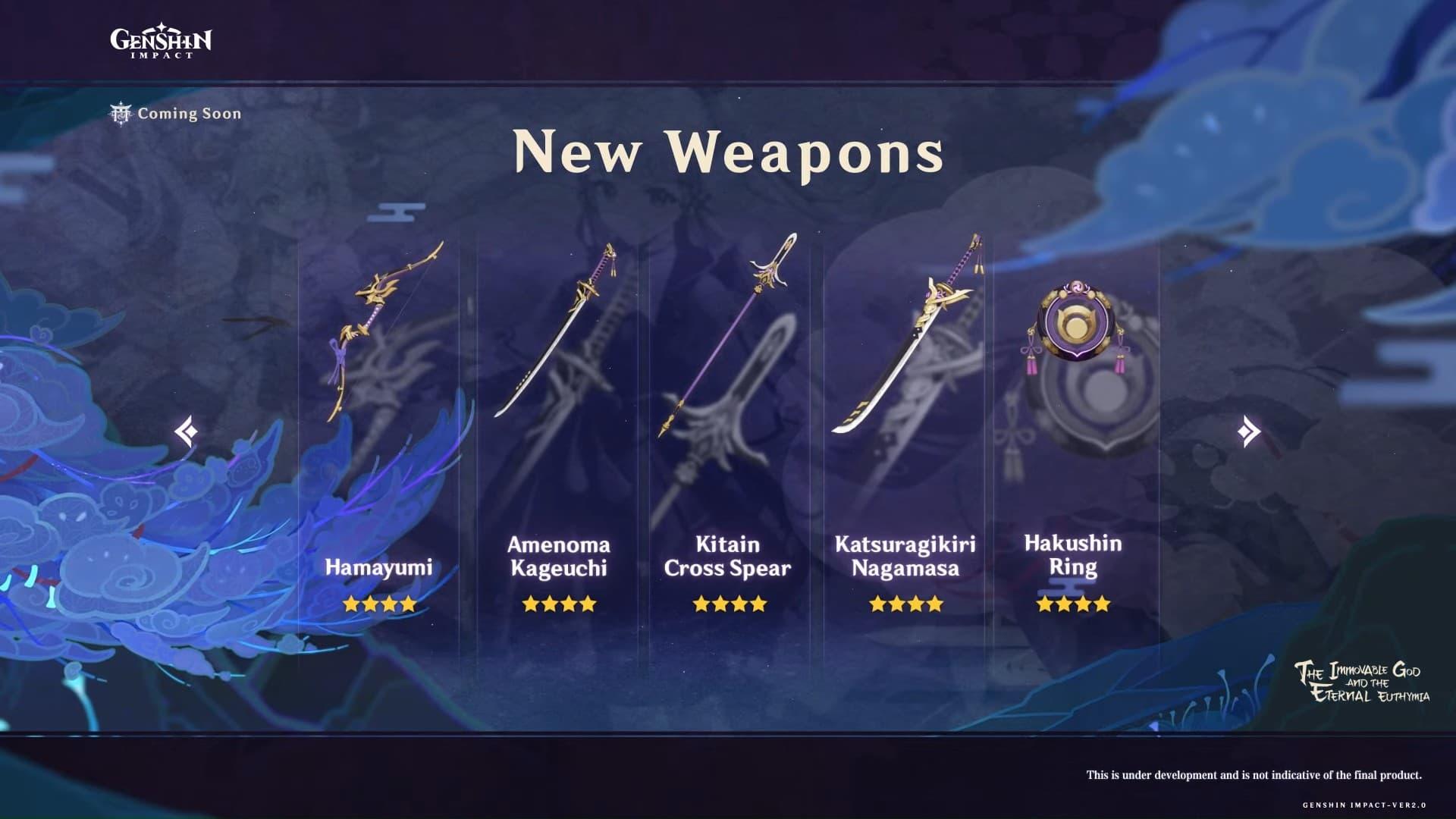 Nuevas armas y artefactos del parche 2.0 de Genshin Impact